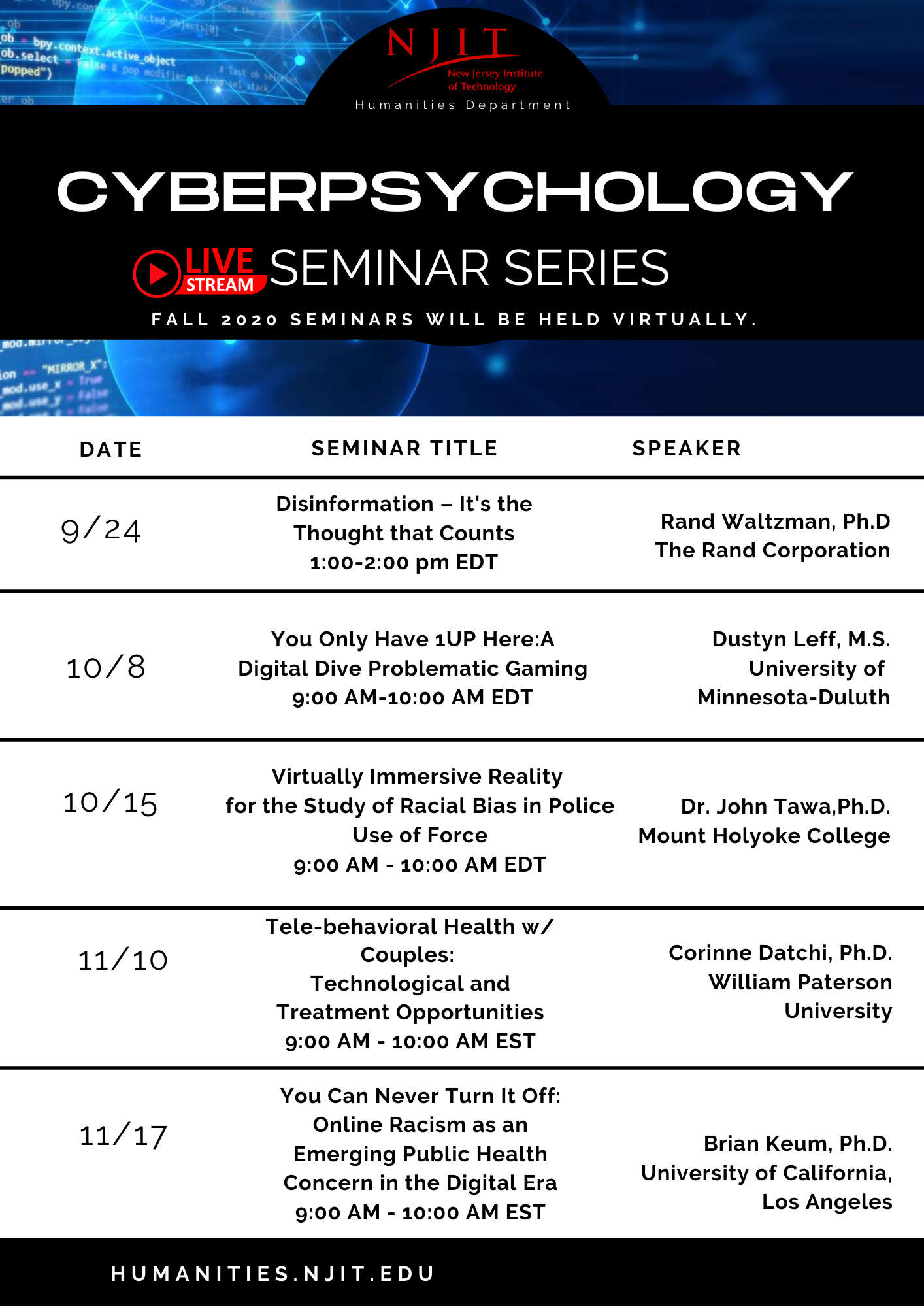 Fall 2020 Cyberpsychology Seminar Series